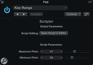 Screen 3: The Scripter's Key Range Preset can be used to filter out unwanted notes.