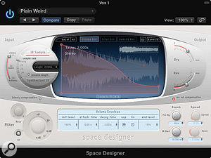 Space Designer is Logic's flagship reverb plug-in, and while it doesn't allow pitch modulation, it does let you import your own impulse responses.