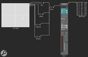 Screen 4: The finished Environment layout uses a  Vector object and a  series of Transformers to control multiple insert-effect parameters.