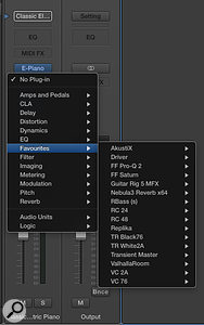 Picture 4: The Favourites folder we created now appears in the Insert Plug-in list. Here you can see my favourite effects plug-ins located inside it for easy access.