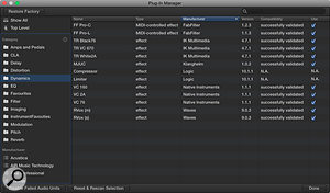 Picture 5: My new Dynamics folder made up of both Logic's own plug-ins as well as my favourite third-party ones.