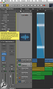 Logic's Fade tool lets you speed up or slow down regions to create a  convincing 'tape stop' effect.