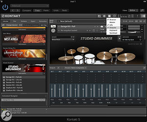 To view the available outputs in a multi-output instance of Kontakt, you have to enable the Output window in the menu at the top.