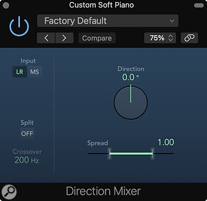 The Direction Mixer not only allows for panning, but also has advanced stereo‑balance options, as well as adjustable stereo width.