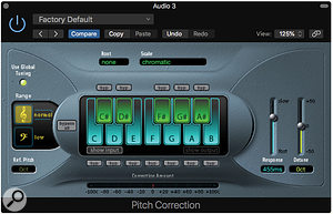 A Dual Mono instance of the Pitch Correction plug-in will let you achieve a  natural-sounding double-tracked effect.