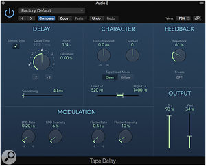Try using different delay settings for the left and right channels, to give you a  wider guitar sound.