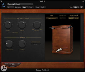 The Rotor Cabinet plug-in is great for adding a  bit of warmth to your sound when set to its 'Brake' mode.