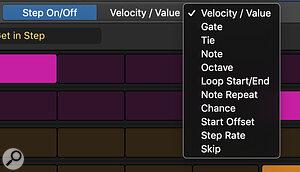Screen 2: The Velocity/Value drop‑down menu.