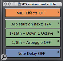 The floating window from the Electronic template, created with Logic's Environment to control arange of MIDI effects.