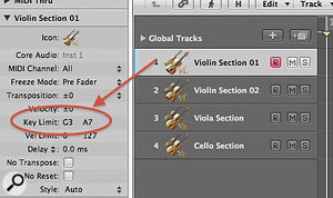 As most virtual instruments don't stay within the confines of  'real' instrument note ranges, you may want to set asuitable range in the Inspector.