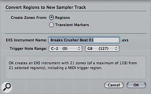 The Convert Regions to New Sampler Track dialogue box is avery simple affair, which makes the whole process almost foolproof.