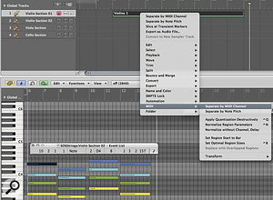 Block chords can be broken down into individual tracks in the MIDI editor, helping to create individual parts.
