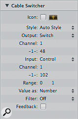 Use the settings shown here when creating a new Cable Switcher.