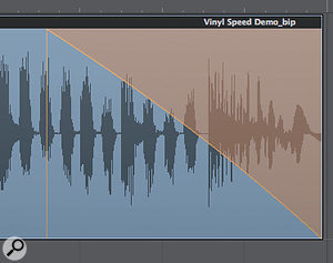 You can now make your slowed-down and sped-up audio convincing by altering the speed at which the effect works. Grabbing the middle of the curve and dragging it upwards starts to create the effect you need.