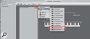 To connect objects between layers Option-click on the outlet of the object and then, from the drop-down menu, choose the desired layer and object within that layer.