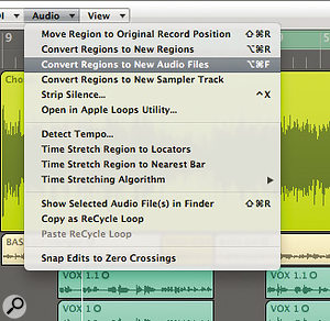 For extra backup you can convert specific regions to audio files. This is agood idea when you're about to perform adestructive function, as it gives the option of restoring exactly what you were working on, rather than using the Undo function.