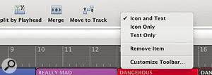 Logic's user interface is highly customisable. From small actions, such as is shown here, to completely changing what appears in the toolbar, you can really make yourself at home!