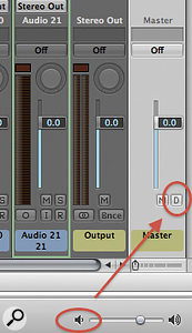 Logic's master fader has a 'Dim' control, shown here as the small 'D' button.