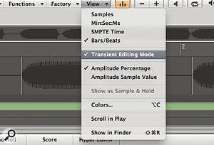 To access Transient Editing Mode in the Sample editor, double‑click on the relevant vocal region and select 'Transient Editing Mode' from the View menu.