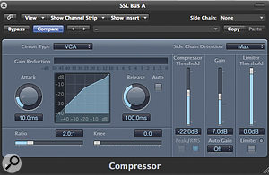 The original SSL Bus compressor had switchable values for Attack, Release and Ratio settings. This functionality is not available in Logic, but you can quickly recall different 'SSL' settings by storing presets with the appropriate values.