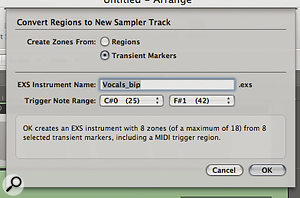 When using the 'Convert Regions to New Sampler Track' function, be sure to select the 'Create Zones From Transient Markers' button. This creates aseparate EXS24 II zone for each note or phrase that you've marked out.