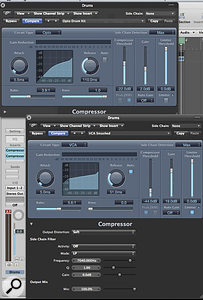 Logic's Compressor allows you to experiment with parallel compression without having to use auxes. Here we can see that two Compressors have been used on the Drums track, one as a conventional compressor, and the other to add slightly more characterful effects to the track.