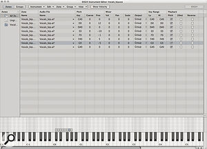 The EXS24 II Instrument editor shows the zones generated from transient markers.