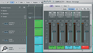 Re‑ordering tracks on the Arrange page changes the order on the mixer.
