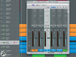 Using 'Catch' keeps your current track visible in the mixer window.