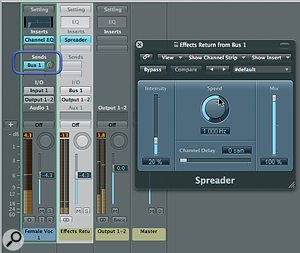 Doubling a vocal with Spreader.  Spreader is set up on an auxiliary effects return channel, to which the main vocal channel is assigned to send.