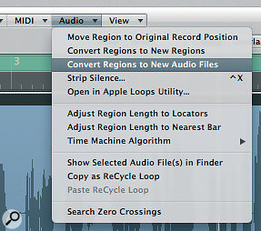 Use 'Convert Regions to New Audio Files' — found in the local Audio menu of the Arrange area — to duplicate your original vocal audio file before carrying out the destructive edits needed to create reverse reverb.