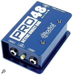 A re-amp box like the Radial X-Amp pictured here can be very handy. Not only will it allow you to re‑record DI'd guitar parts through areal amp and cabinet, but it is also useful for sending test and alignment signals out to your amp to help you find the best mic positions.