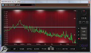 Above: a mix run through a frequency analyser (in DDMF's LP10 plug-in). Note that not all frequencies are equal in level, and that the bass notes in particular are higher in level. This is partly because the lower the frequency, the higher the level must be to achieve the same perceived volume.