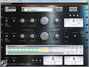 Dedicated loudness and mastering plug-ins — such as the Slate FG-X, pictured here — are best left to the mastering stage for actually processing your sound, but they can be incredibly useful on the mix bus as ameans of previewing what loudness processing will do to the tonal balance of your mix.
