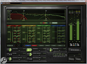 Multiband processing isn't all about compression. Plug-ins such as Izotope Ozone pictured here offer arange of different multiband processors that can help to finalise amix.