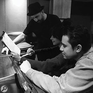 At work on a  track with Camila Cabello and renowned producer Frank Dukes (right).