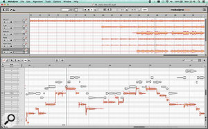 Multitrack editing in the stand–alone Melodyne Studio 4. The tracks view along the top serves mainly as a  visual reference, but is also used to select which tracks are editable within the main Note Editor.