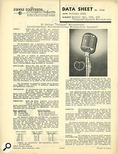 Shure's product data sheet for the original Model 55 microphone, from 1939.