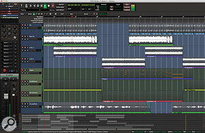 The Mixbus 3 Edit window provides a  familiar timeline–based view of your audio and MIDI clips.