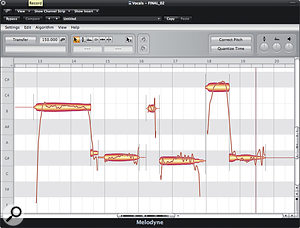 Melodyne is generally very good at tracking pitch, but some nuances are usually missed. In these two screens, you can see where two notes were read as one, and how the author has used the Note Separation tool to split them at the appropriate point.