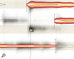 Sometimes a note that you can hear passes under the radar of Melodyne's automatic note‑detection routine. In this case you can browse a spectrogram of the audio (left screen), which appears a ghostly grey behind the note blobs, to find the spectral peak that corresponds to it and then double‑click to summon up a bespoke blob (right screen).