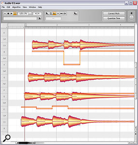In previous versions of Melodyne, the Formant and Amplitude tools were basically worthy but dull. However, they get anew lease of life here, courtesy of Direct Note Access. With formant adjustment (above right) you can adjust aguitar recording for fluffed notes and tired lower strings, while the Amplitude tool's muting facilities can very effectively thin out the texture to suit chord clashes or just abusy arrangement (above left).