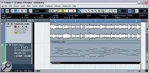 The stand‑alone Melodyne Editor has the facility to export aMIDI file of the notes detected by the Direct Note Access technology. Here you can see apolyphonic audio file and the corresponding MIDI file side by side in Steinberg Cubase 5.