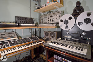 Multi-instrumentalist Paul Butler owns a nice collection of vintage electronic instruments, including (top row) Roland TR808 drum machine, Korg MS10 and EML Electrocomp synths; (lower row) Roland TR707 drum machine, Moog Memorymoog and Roland SH101 synths.