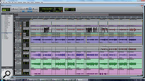 This screen shows the two-stage approach to mixing alive set. Preparatory work has been done on the session as awhole, and I'm now working my way through mixing each song individually. These will be saved to separate new sessions.