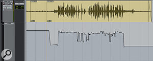 Live vocals almost always contain spill from other sources, especially drums. As aconsequence, you're unlikely to be able to use heavy compression as an effect, and instead, you may need to do detailed fader rides, as shown here. Note that in the sections where there is no singing, the vocal mic signal is attenuated but not completely muted. This helps to avoid too abrupt achange in the sound of the mix as awhole when the vocal and its spill are brought up.