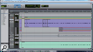 Spill between tracks makes editing the timing of individual parts much more difficult in alive recording than in one composed from overdubs. Here, Ineeded to fix aguitar intro that was played along to stick clicks from the drummer. The only way it could be done was to mute all the other tracks during the intro, which detracts from the live feel of the recording.