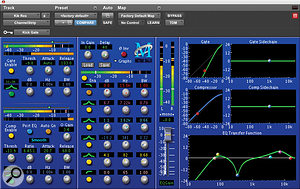 This screen shows typical metal kick‑drum EQ and compression settings, with gating taken care of via aside‑chain. Similar EQ settings could be applied to akick sample prepared from the same kit. Ahigh‑pass filter at 65Hz minimises inessential low‑end energy, while aparametric boost at 82Hz, with amedium 'Q' setting, emphasises the 'right' band of low frequencies. The third band is extensively attenuating unwanted frequencies around 341Hz, providing more definition and clarity and freeing up space for the bass guitar to 'breathe'. Finally, afairly gentle boost at 3.62kHz and alarger one at 7.22kHz emphasise the attack. When an even more cutting impact is required, the boost at 7.22kHz could be replaced with one at an even higher range, around 9‑10kHz. The compressor's attack setting is allowing the initial transients of the kick drum through untouched before clamping down on the body with arelatively high ratio — again, helping to emphasise attack.