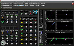 In this example, Ihave used eight bands of EQ for rhythm guitar. The all‑important HPF has been set to 85Hz — very close to the low‑frequency area being boosted, which is 89Hz. Three dips are applied to control unwanted resonant frequencies at 123 and 186Hz, both with an extremely tight 'Q' curve, and 2.39kHz, with awider 'Q'. High‑end brightness is added at 6.86kHz, and on the second screenshot, aslight high‑mid boost with awider 'Q' has been applied at 1.82kHz to compensate for the attenuation at 2.39kHz. Finally, an LPF has been used to mark the highest usable frequency and to help minimise masking; in this instance, it was set to 12.4kHz.