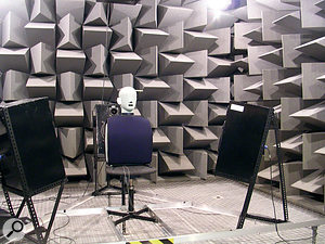 Creating HRTFs is a complex and expensive business. Here at Salford University, a dummy head is placed in an anechoic chamber and test tones are recorded from strategically placed speakers.